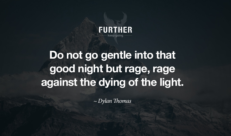 Do not go gentle into that good night but rage, rage against the dying of the light. ~ Dylan Thomas