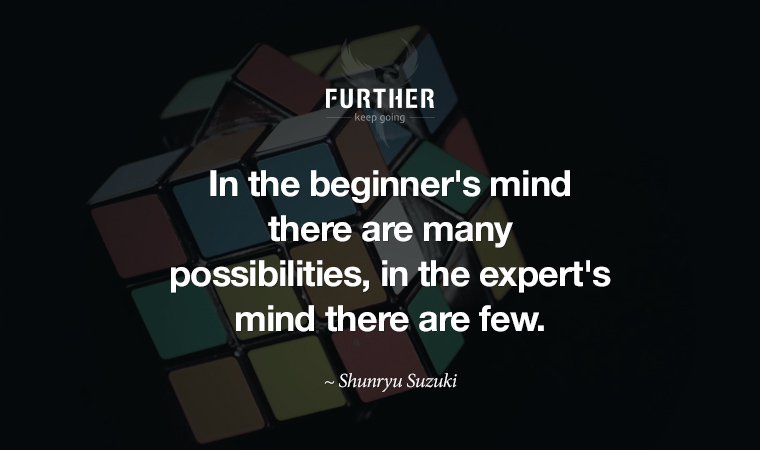 In the beginner's mind there are many possibilities, in the expert's mind there are few. ~ Shunryu Suzuki